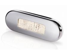 9680 SERIES LED STEPLAMP WARM WHITE LIGHT, SATIN SS RIM
