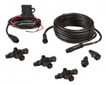 NMEA 2000 Micro-C Network starter kit: Includes Network power cable, 4.5 m (15 ft) N2K cable, 3 x T-connectors, 2 x network terminators