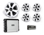 "Incl. 4 x 6.5"" Sig Sports White Speakers, 1 x 10"" Sig Sports White Sub, SG-DA51600 Amp and SG-VREGLED"