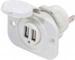 12VDC 2USB Charger 5V 2.1A Socket White