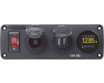 Panel BelowDeck 12VDC Sckt, USB & Vmeter (replaces 4356B )