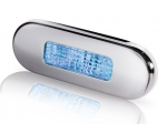 LED OBLONG STEP LAMP WIDE RIM 10-33V BLUE - POLISHED 316 S/S BEZEL.