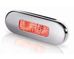 9680 SERIES LED STEPLAMP RED LIGHT, POLISHED SS RIM