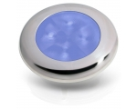 SLIM LINE ROUND LED LAMP, BLUE LIGHT, POLISHED SS RIM 24V