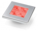 SLIM LINE SQUARE LED LAMP, RED LIGHT, SATIN CHROME RIM 24V